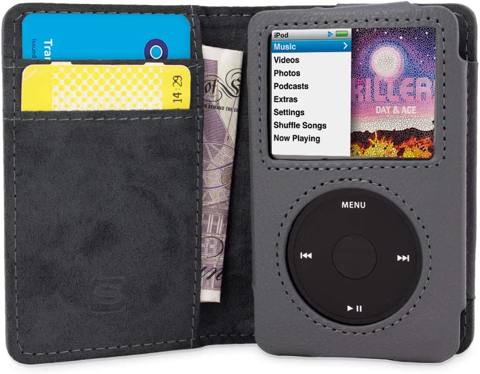 iPod Classic Case, Snugg Grey Leather Flip Case [Card Slots] Executive Apple iPod Classic Wallet Case Cover Stand - Legacy Series
