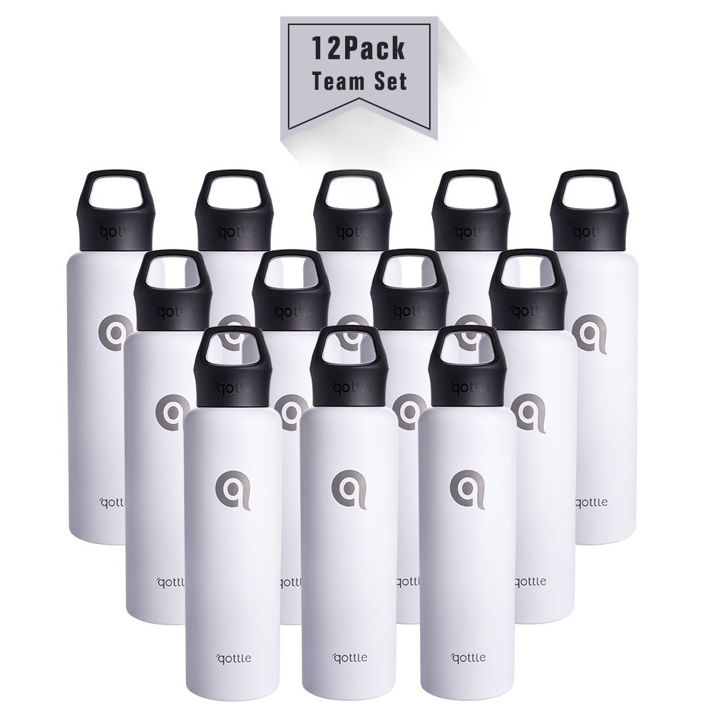 qottle 12-Pack 24oz Stainless Steel Water Bottles - Double Wall Vacuum for Hot and Cold Insulation Flask for Outdoor Sport Camping Hiking-White