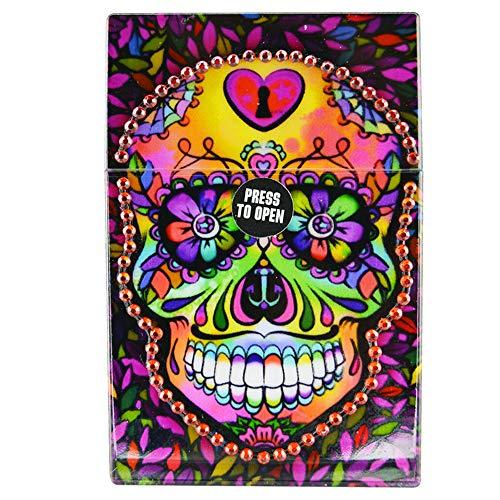 - Rhinestone Bling Encrusted Hard Box for Full Pack of Cigarettes, Cigarette Case - Sugar Skull Red