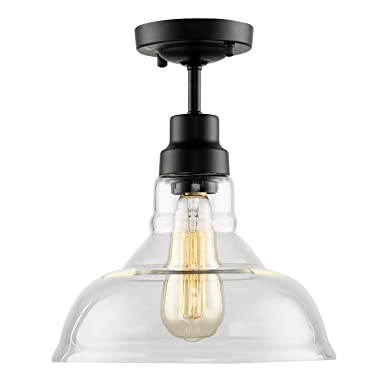 HMVPL Industrial Edison Close to Ceiling Light, Rustic Mini Semi Flush Mounted Pendant Lighting with Clear Glass Shade for Kitchen Island Dining Room Living Room Bedroom