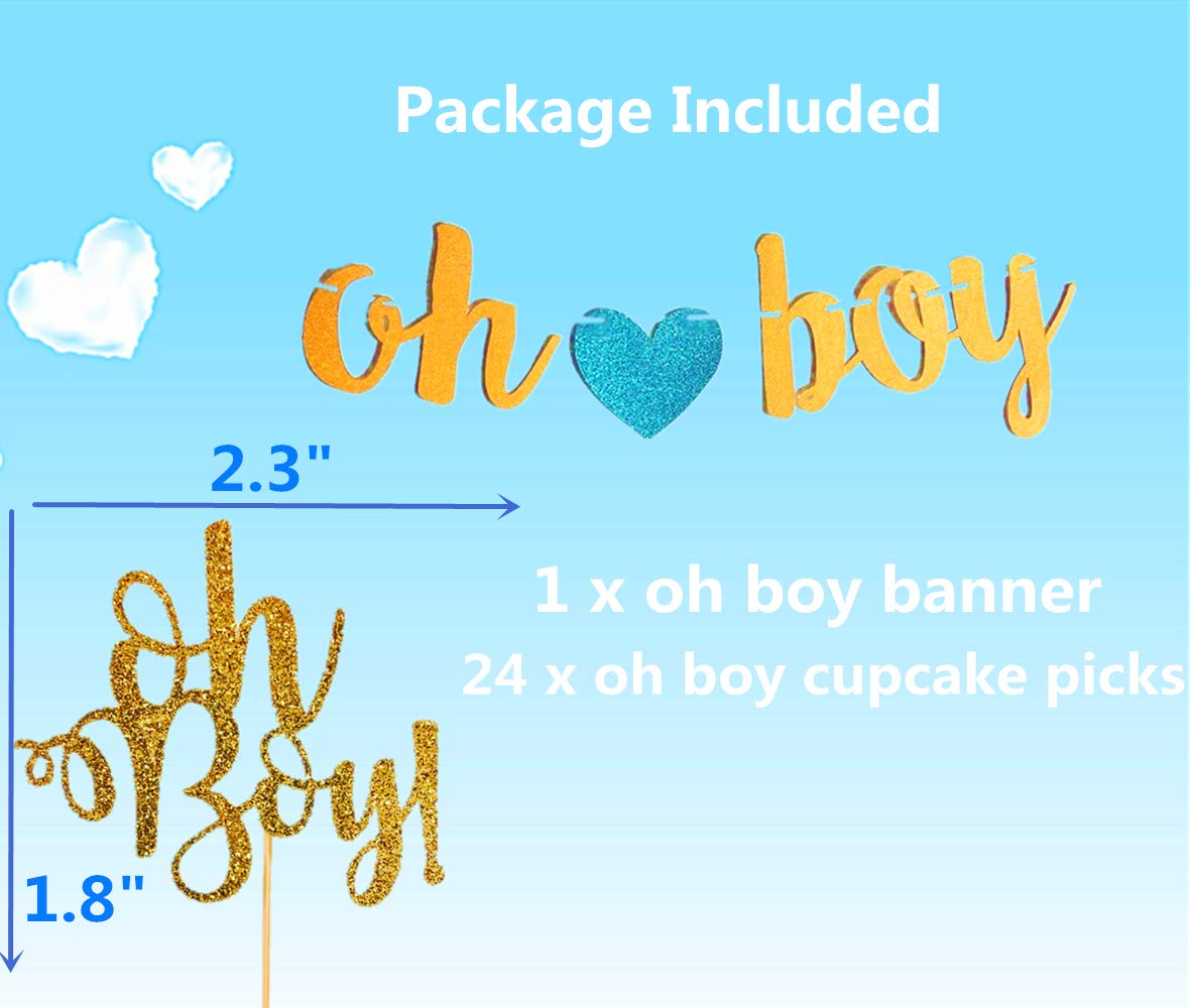 JeVenis Set of 25 Glittery Oh Boy Cupcake Topper Oh Boy Banner Oh Boy Party Decoration for Birthday Baby Shower Party Decorations