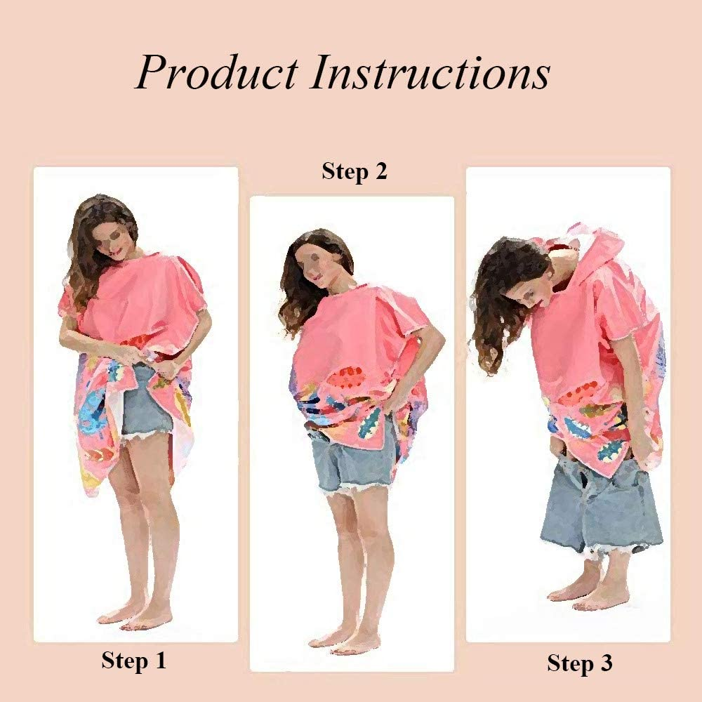 Hooded Poncho Beach Towel DOTBUY Striped Flamingo Printing Microfiber Changing Robe Bathing Hooded Diving Cloak with Hood for Surfing Swimming Light Weight Wetsuit Unisex