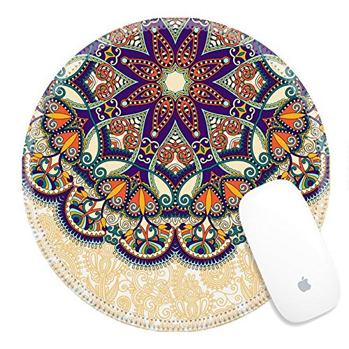 Luxlady Round Gaming Mousepad 32651219 floral round pattern in ukrainian oriental ethnic style for your greeting card or invitation template design for card vintage lace doily vector illustr