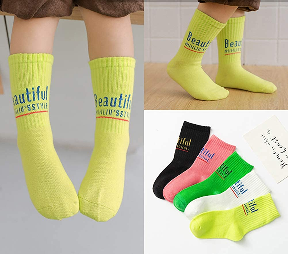 CHUNG Toddler Little Big Girls Cotton Socks 10 Pack Candy Color Soft Ankle Crew Casual Autumn School