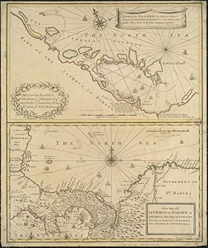 Historic Map | 1721 A draft of the Golden & adjacent Islands, with part of ye Isthmus of Darien as it was taken by Capt. Ienefer where ye Scots West-India Company were setteled | Vintage Reproduction