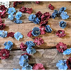 Wedding Table Decorations for Reception, Table Scatter Decorations, Dusty Blue and Burgundy Flower Confetti, Floral Bridal Shower Decor 2