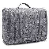 CoolBELL Travel Toiletry Bag Hanging Dopp Kit Mens Toiletries Organizer Cosmetic Case Women Makeup Bag (Grey)