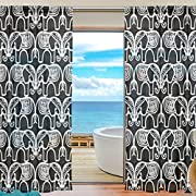 Vantaso Sheer Curtains 84 inch Long Black And White Elephant Mandala for Kids Girls Bedroom Living Room Window Decorative 2 Panels