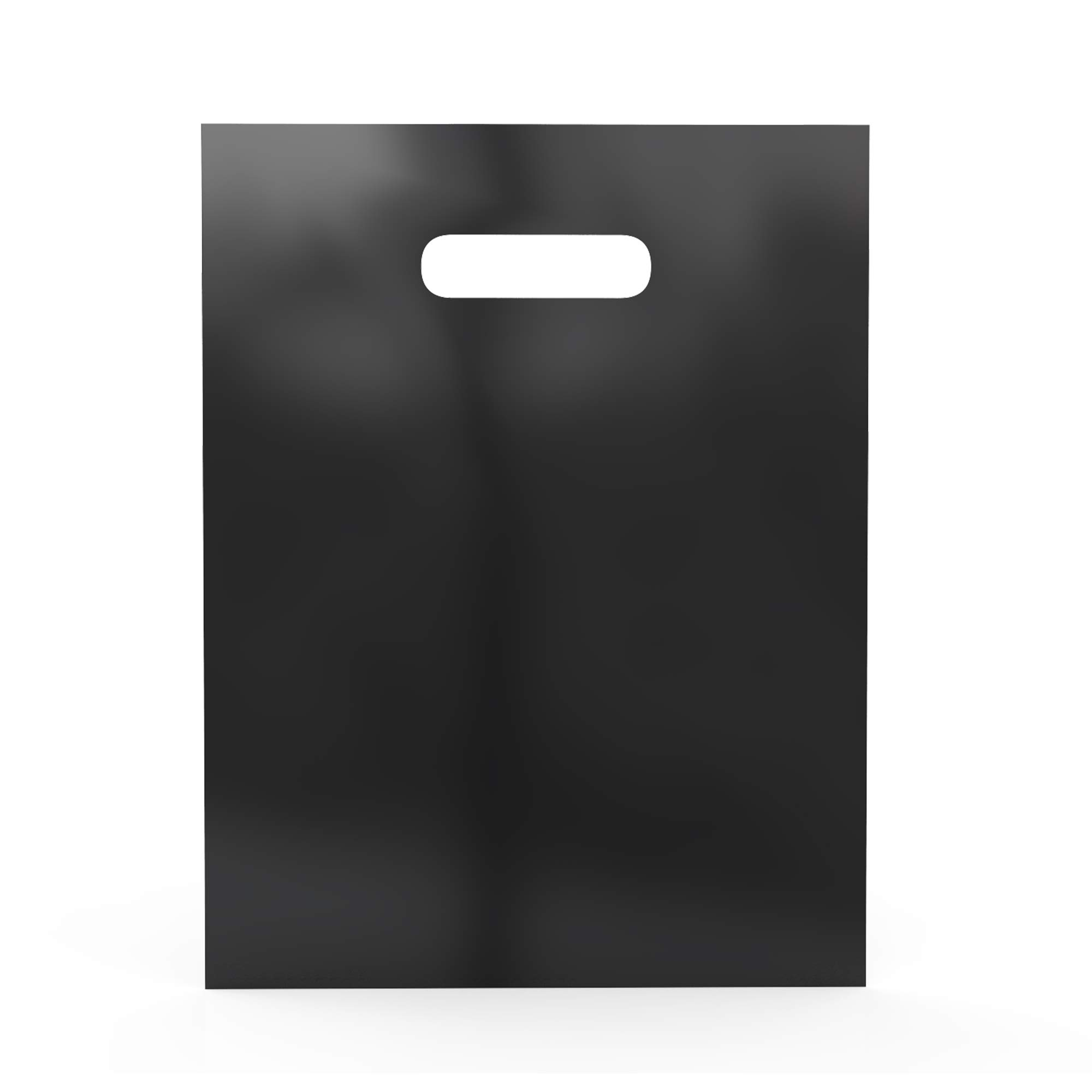500 Pack 9 x 12 Inch with 1.25 mil Thick Black Merchandise Plastic Glossy Retail Bags   Die Cut Handles   Perfect for Shopping, Party Favors, Birthdays   Color Black   100% Recyclable