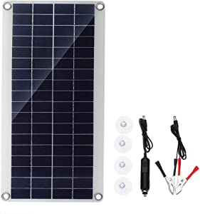 Galapara 15W Solar Panel Kit Support 12V Devices Double USB 5V Ports Portable Solar Panel Battery Charger with Cigarette Lighter Plug, Alligator Clip for Automobile Motorcycle Tractor Batteries