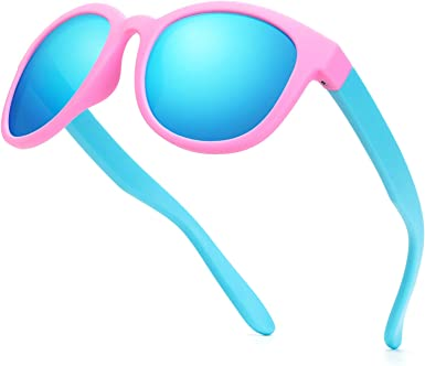Kids Polarized Sunglasses Rubber Flexible Shades Frame for Girls Boys Age 3-10