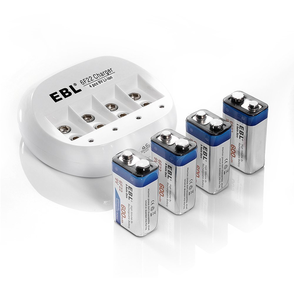 EBL 9V Rechargeable Batteries (4 Packs) 600mAh 9V Li-ion Batteries with 4 Bay 9V Lithium ion Battery Charger EBL-855