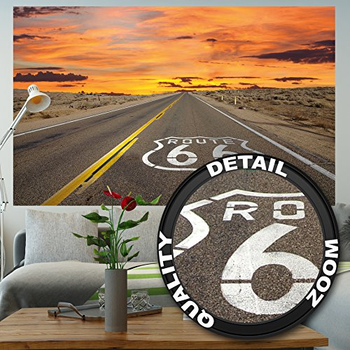 GREAT ART Wallpaper Route 66 - Wall Decoration American Highway Poster Road 66 USA Mural Art (82.7 Inch x 55 Inch) - 66 Route Americas Highway Motorcycle