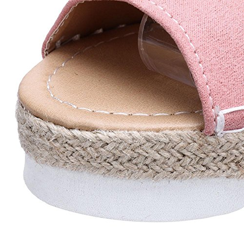 Thick Women Flock Ladies tied Muium Mouth Color Pink Bottom Cross Casual Fish Solid Sandals Sandals Xpq1qwCx