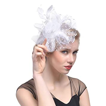 62cc8e07 Feather Mesh Net Fascinator Mesh Looped Net Hair Clip Flower Cocktail Tea  Party Headwear for Girls and Women (White): Amazon.co.uk: Beauty
