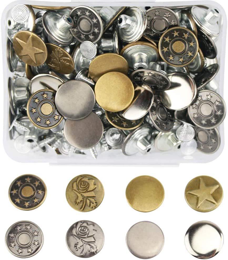 YaoSyu Replacement Jeans Buttons Copper Colors 8 Sets Metal Tack No Sew Button Replacement Kit for Jackets 6PC Combination E Jeans and Other Heavy Fabrics Metal Button Snap Buttons 0.67in//17mm