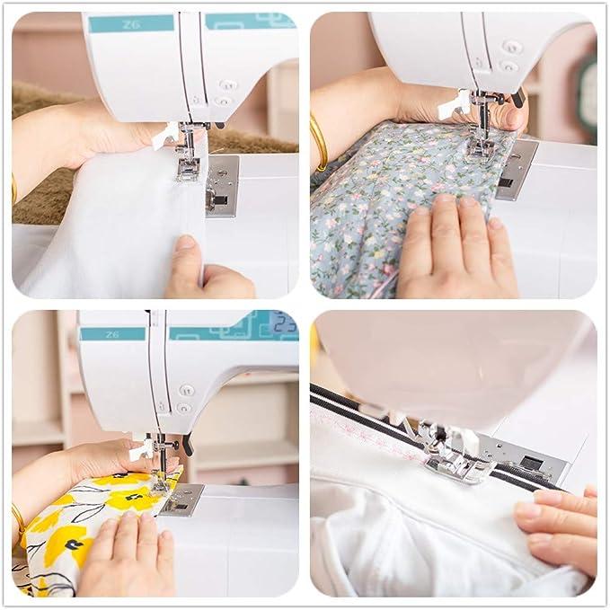 Máquina de coser electrónica doble aguja, enhebrador de agujas ...