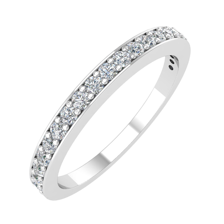 IGI Certified 14k White Gold Wedding Diamond Band Ring (1/4 Carat),ring size 6.5 by Diamond Delight