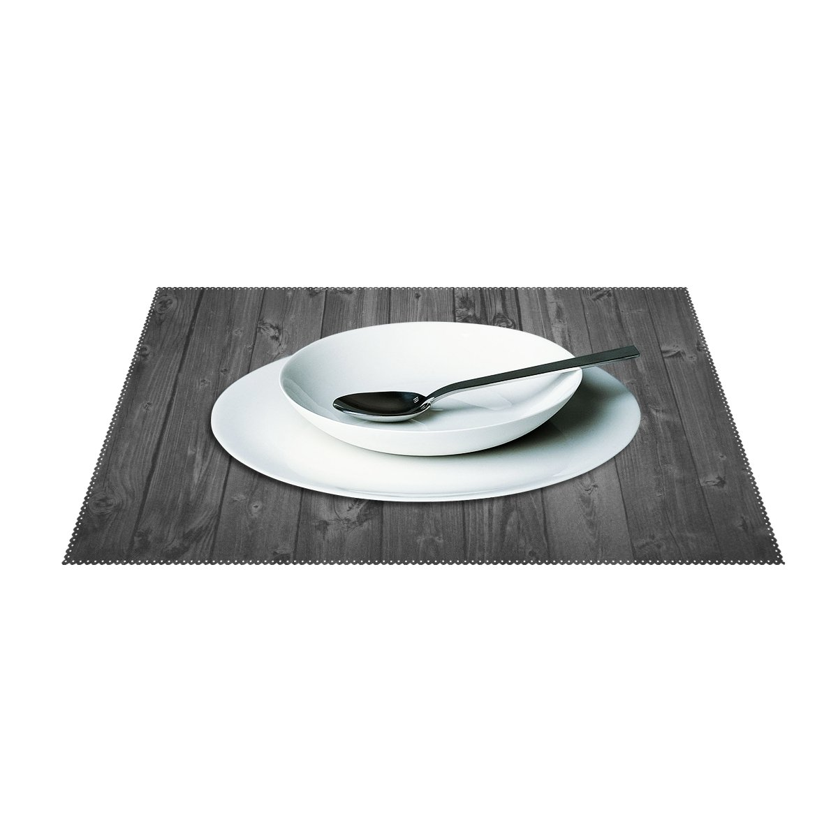 AIDEESS Custom Floor Heat-resistant Placemat Table Mat, Rustic Old Barn Wood Pattern Polyester Placemats Non-slip Insulation Mats 12''x18'' by AIDEESS (Image #3)