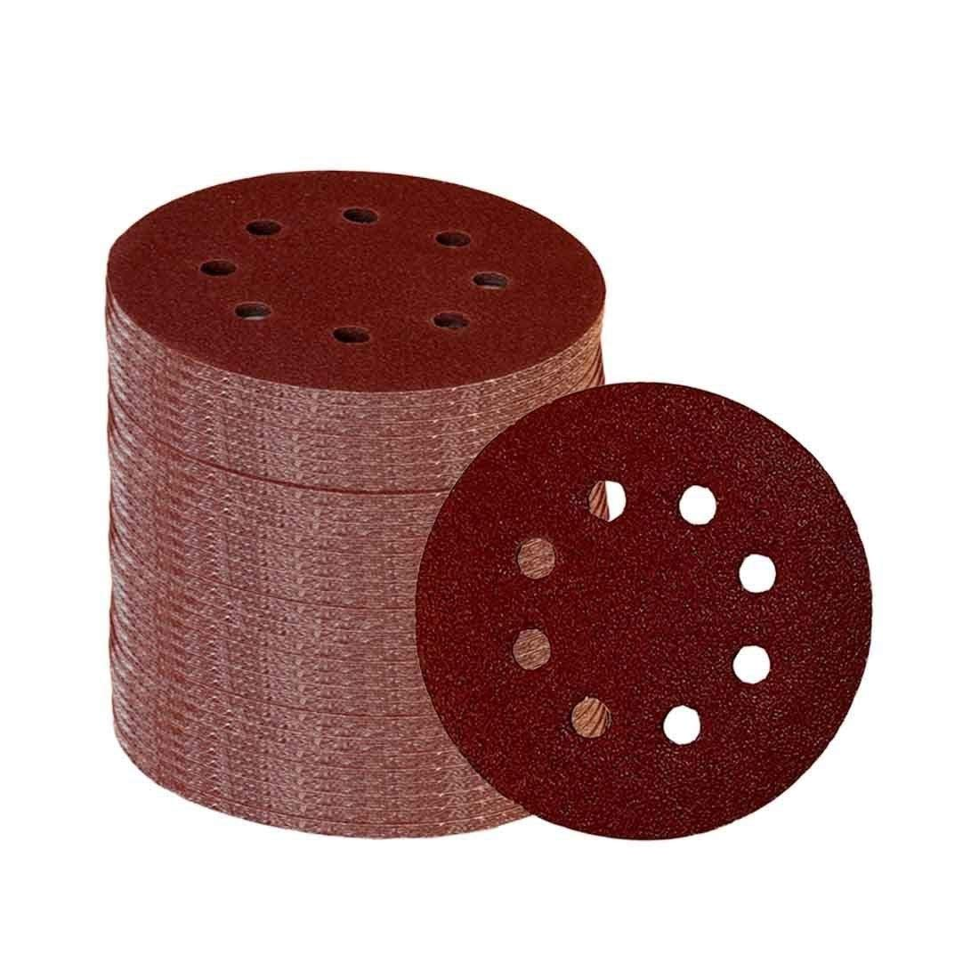 SYH01 60 Pieces 8 Holes 5 Inch Sanding Discs Hook Loop 60/100/180/240/320/400 Grit Sander Machine Sander Deglosser