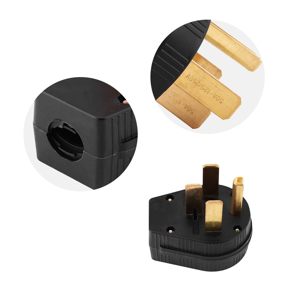 1pc NEMA 14-50P 50A 125//250V Straight Blade Male Plug USA 3 Pole Industrial Grade Grounding 4-Prong Power Generator Plug Replacement