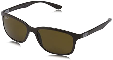 f315312119 Image Unavailable. Image not available for. Colour  Ray-Ban Liteforce  Rectangle Sunglasses in Dark Brown Polarised RB4215 612783 ...