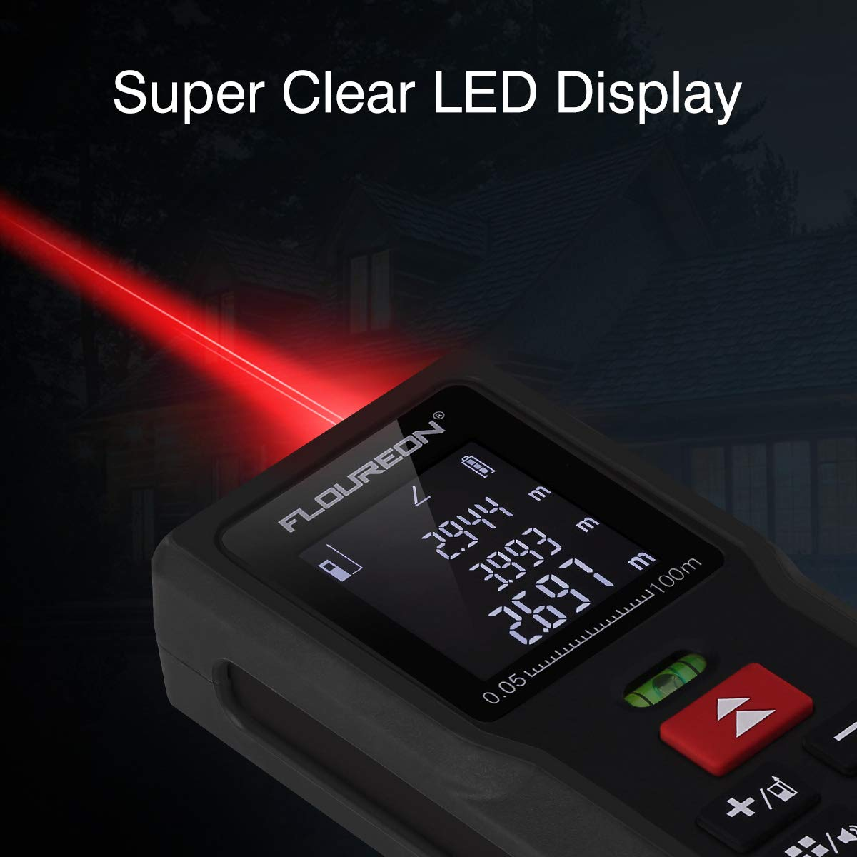 FLOUREON Laser Distance Meter 100m/328ft with 2 Bubble Level High-Precision Laser Measure Device for Measuring Length, Area, Volume Pythagorean with Backlight LCD Display (Battery Included)