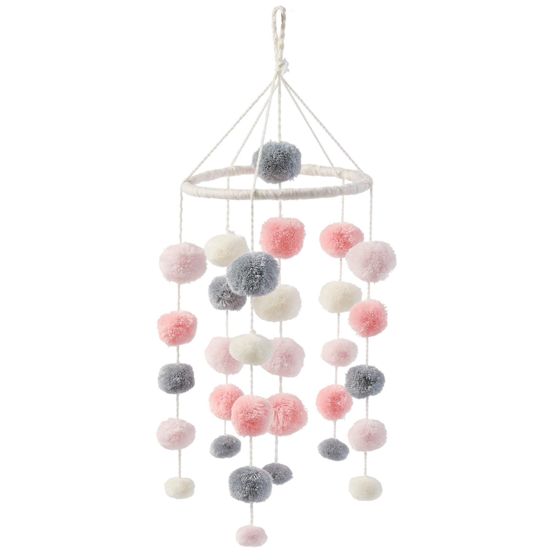 Mud Pie Pom Pom Crib Mobile - Pink and Grey, Pink/Grey