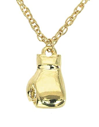 Boxing glove necklace boxing glove pendant on 18 rolo chain gold boxing glove necklace boxing glove pendant on 18quot rolo chain gold tone aloadofball Image collections
