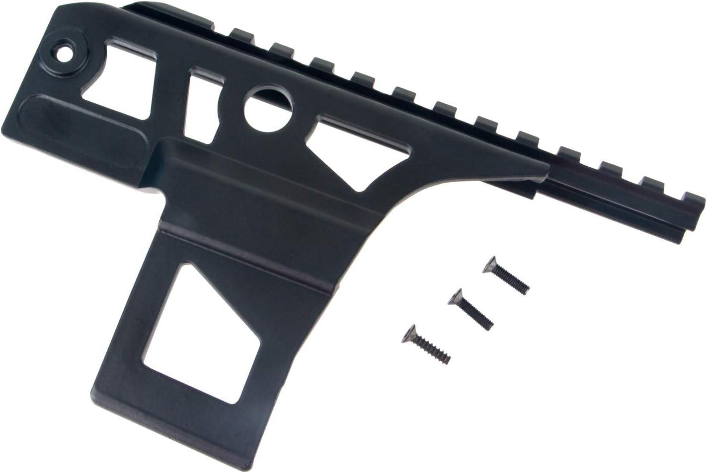 FOCUHUNTER Placa de riel de Cola de Milano de Montaje Lateral táctico AK47 Ligero Metal Picatinny Weaver Soporte de riel Compatible Accesorios de Caza Full Metal Black para Caza Exterior