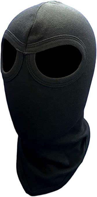 Amazon Com Adult American Made Solid Black 100 Cotton 2 Eye Holes Swat Balaclava Hood Full Face Ski Ninja Long Neck Mask For Army Soldier Motorcycle Biker Everything Else