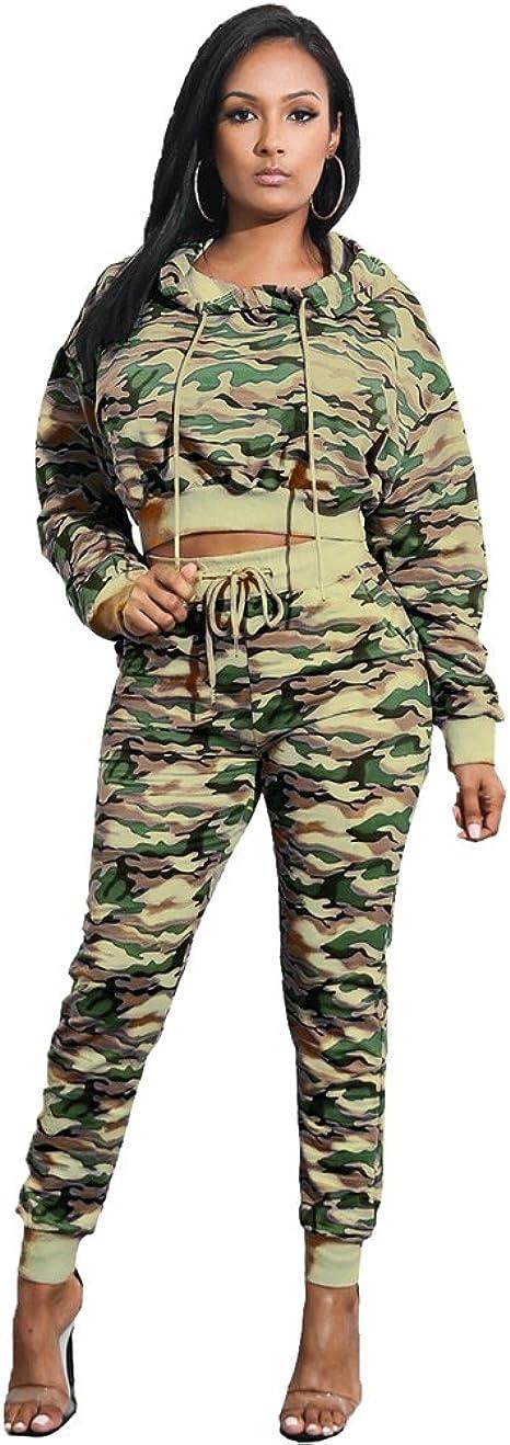 YuanDian Mujer Camuflaje Estampados Deporte Chandal Jogging 2 ...