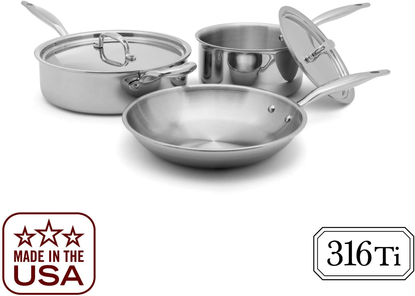 Heritage Steel 5 Piece Essentials Cookware Set - Titanium Strengthened 316Ti Stainless Steel with 7-Ply Construction - Induction-Ready and Dishwasher-Safe, Made in USA