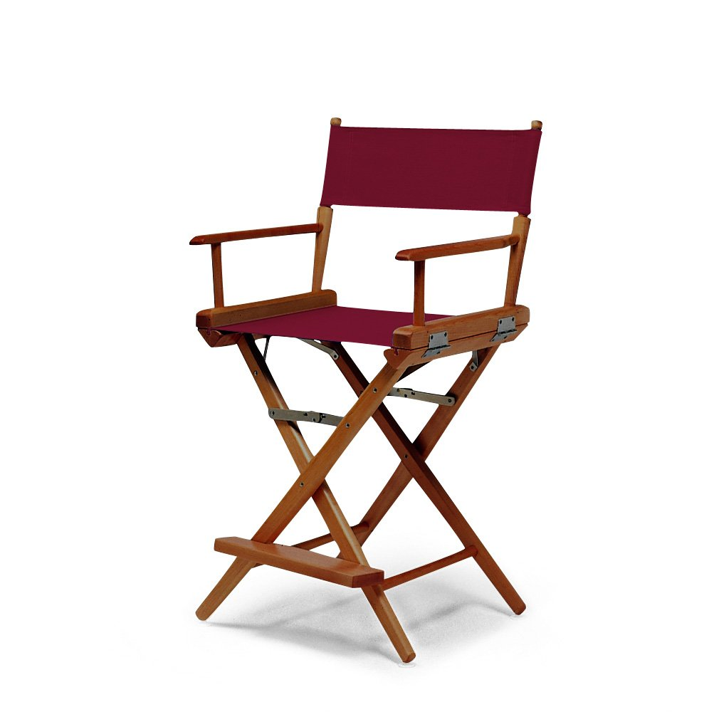 Telescope Casual World Famous Counter Height Director Chair, Burgundy with Walnut Frame
