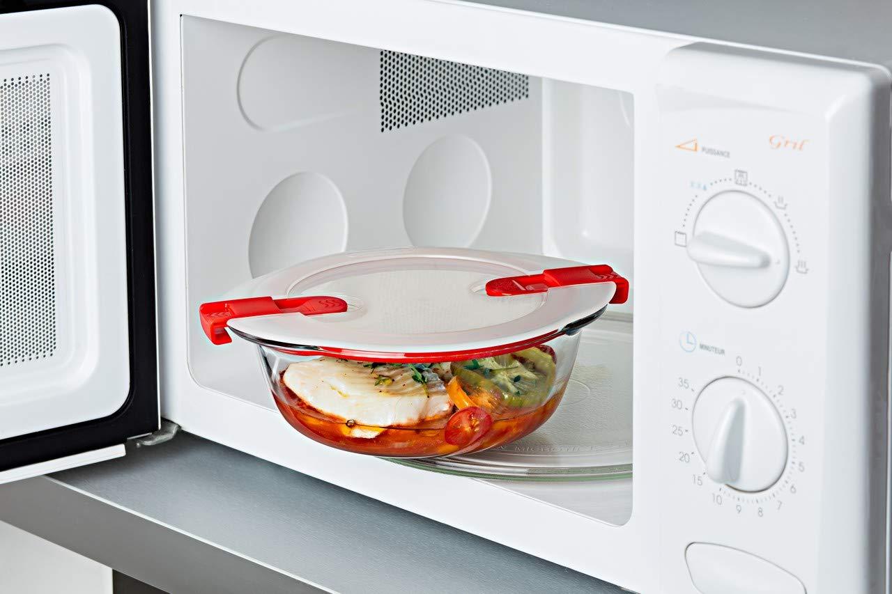 1,1 l Set di tre alimenti in vetro rotondi con coperchio ermetico speciale per microonde Pyrex Cook and Heat Cook /& Heat