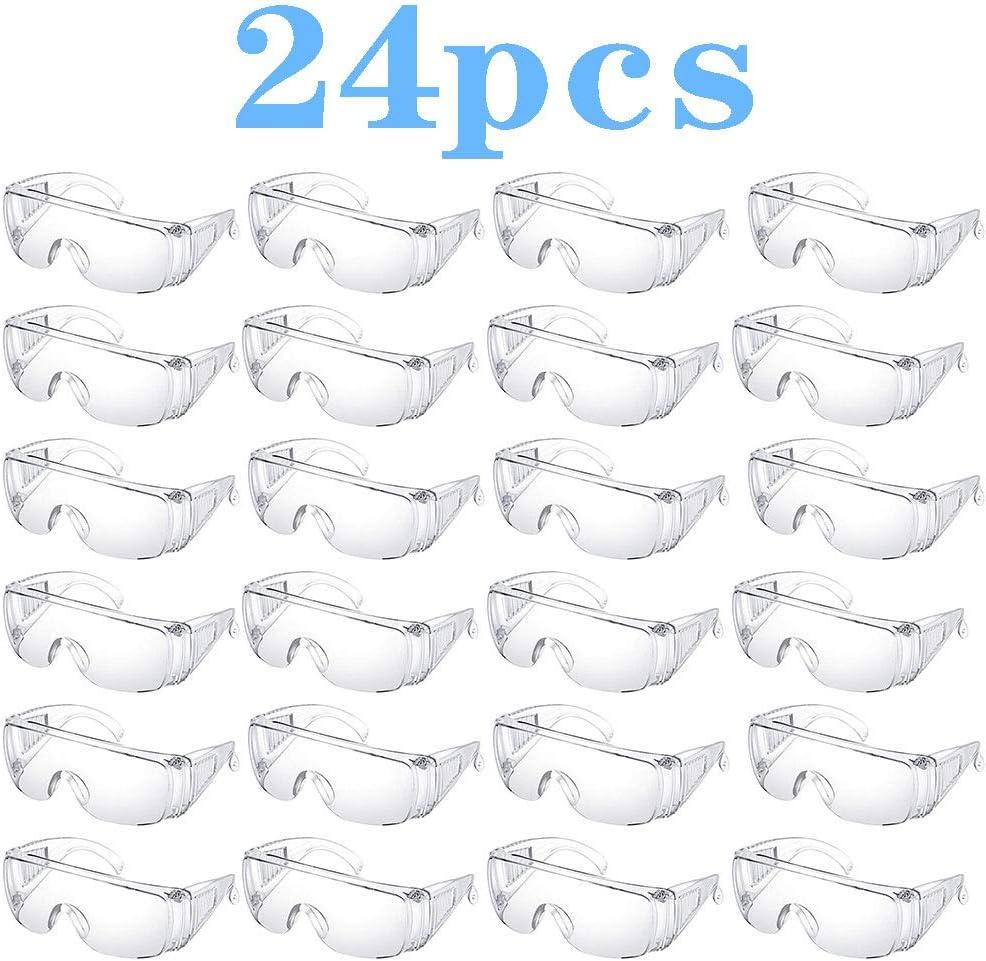 Gafas Protectoras, Gafas Industrial contra la Niebla, 24 Juego de Piezas, para el Bricolaje, Laboratorio, Soldadura, Esmerilado, Ciclismo, Color Transparente