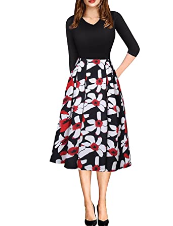 exlura womens vintage patchwork 34 sleeve dress wear to work office party dress