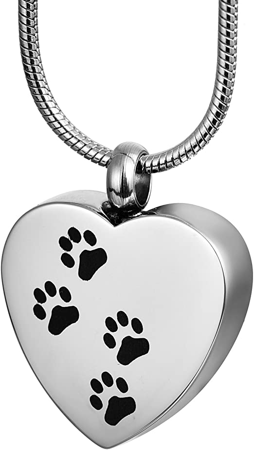 COCO Park Pet Paw//Dog Paw Stainless Steel Urn Pendant Keyring Ash Memorial Keepsake Cremation Jewelry Keychain