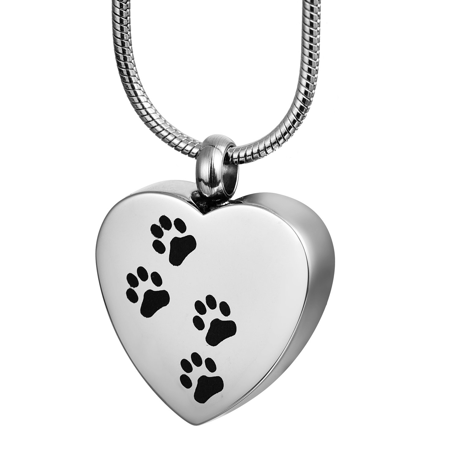 COCO Park Engraving Dog Paw Pet Keepsake Jewelry Cremation Urn Necklace Memorial Ashes Pendant -Silver