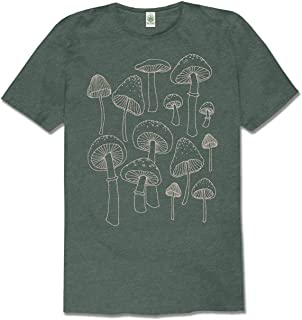 product image for Soul Flower Mushrooms Organic Cotton Recycled Short Sleeve T-Shirt - Eco Pine Green Crew Neck Unisex Tee