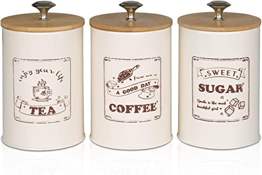 PAOPASE Set of 3 Metal Food Storage Tin With Bamboo Lid for Sugar Tea Coffee Canister Jar