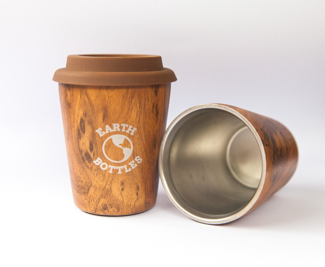 Coffee Nut 10oz 300ml Stainless Steel Double Walled Coffee Travel Mug with Silicone Lid - Pale Wood