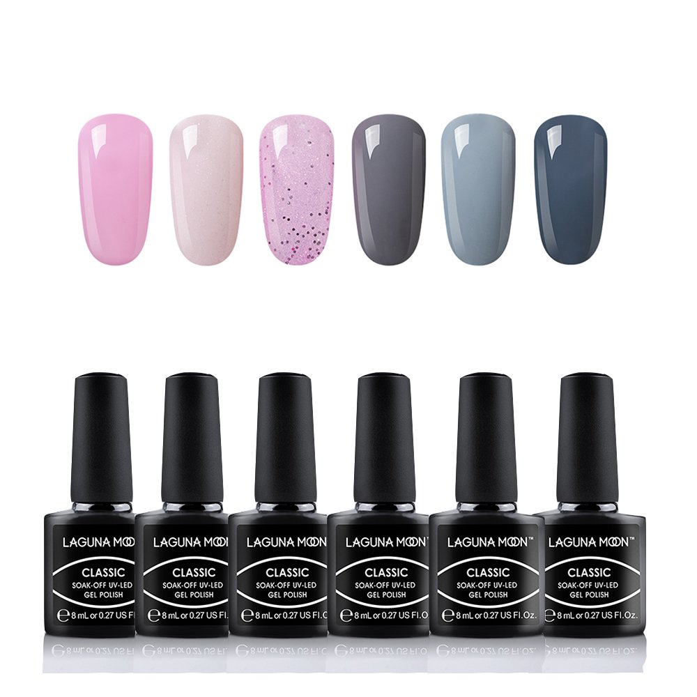 Lagunamoon Esmaltes Semipermanentes, 6pcs Kit de Uñas de gel UV LED, Pintauñas Semipermanentes Set de Regalo para Manicura y Pedicura - 007: Amazon.es: ...