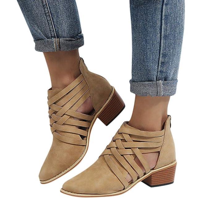 ❤ Botas Cortas Romanas para Mujeres, Zapatos de Mujer de otoño Botas Altas con Punta de Tobillo solteras Absolute: Amazon.es: Ropa y accesorios