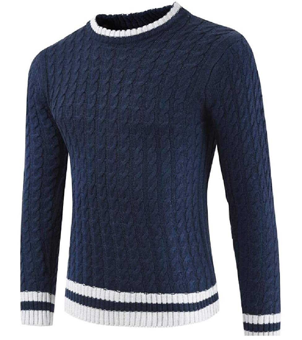 WSPLYSPJY Mens Pullover Crew Neck Long Sleeve Cable Knit Sweater Top