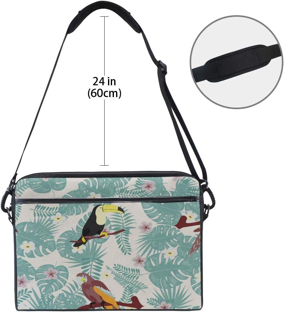 College Students Business Peopl Laptop Bag Beautiful Tropical Parrot Toucan 15-15.4 Inch Laptop Case Briefcase Messenger Shoulder Bag for Men Women