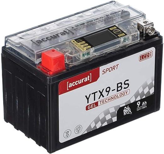 Accurat Motorradbatterie Ytx9 Bs 9ah 130a 12v Gel Starterbatterie Lcd Display Erstausrüsterqualität Rüttelfest Leistungsstark Wartungsfrei Auto