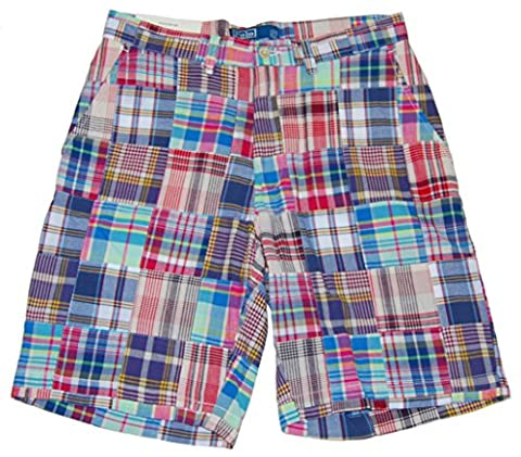 Polo Ralph Lauren Mens Madras Patchwork Casual Dress Shorts Plaid Blue Red (33) - Blue Patchwork Shorts