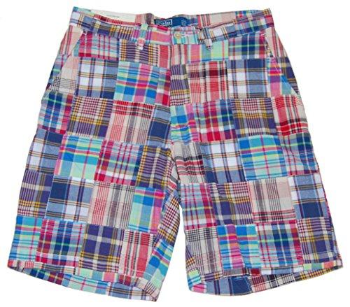 Ralph Lauren Plaid Fabric - RALPH LAUREN Polo Mens Madras Patchwork Casual Dress Shorts Plaid Blue Red (30)
