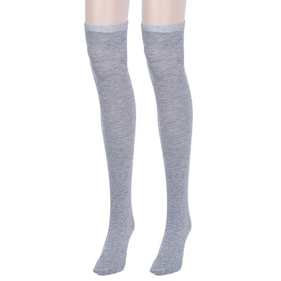 DOGZI Calcetines hasta la rodilla, Moda Mujer niña Sobre la rodilla Calcetines Muslo Grueso Calcetines Raya Medias: Amazon.es: Ropa y accesorios